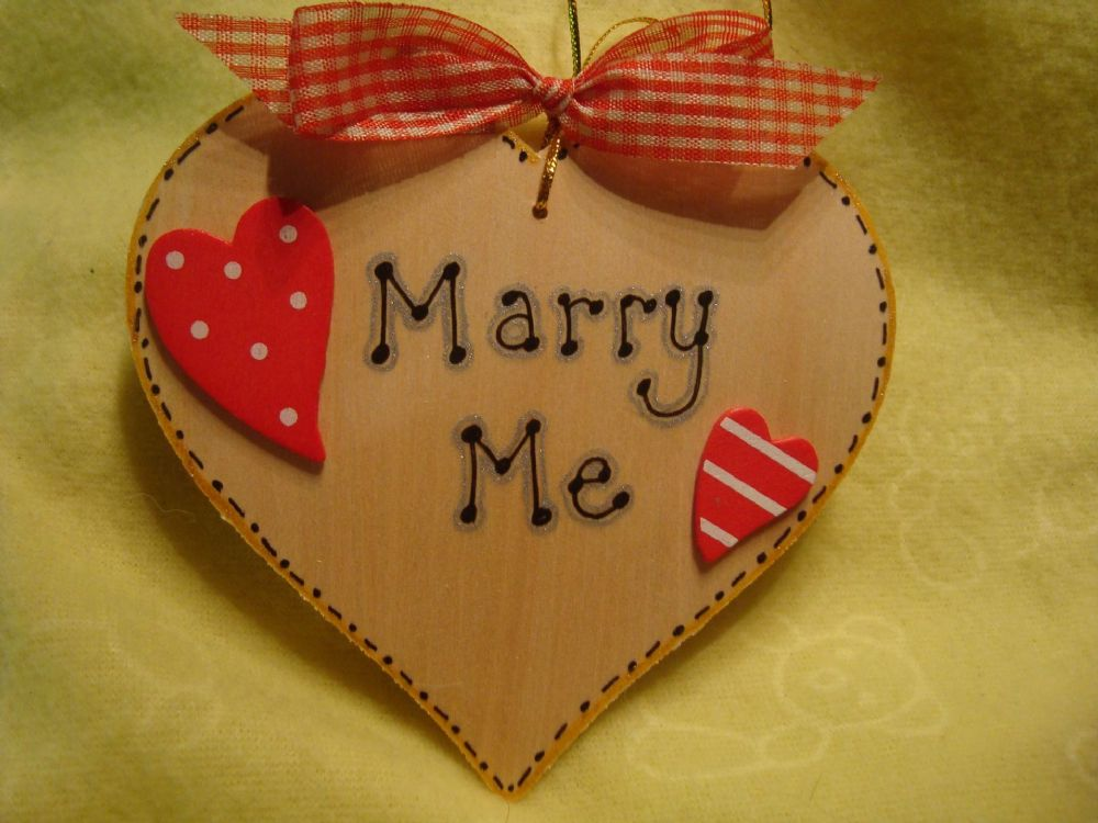 SALE** was £3.99 Marry Me Valentine's Wooden Heart Sign Keepsake Gift Ready To Despatch Engagement Wedding shabby chic